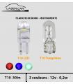 T10 LED COULEUR, 30 lm, Planche de bord, instruments. lot de 2