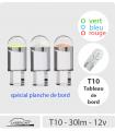 T10 LED 30 lm COULEUR,  Série CRISTAL, Pack de 2, Planche de bord, instruments.