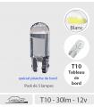 T10 LED 30 lm BLANC,  Série CRISTAL, Pack de 5, Planche de bord, instruments.