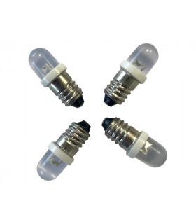 E10 LED 12v à VIS, 0,5w, BLANC, KIT de 4 ampoules