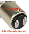LAMPE LED auto 21/5w ,12V, BAY15D Positif inversée -veilleuse + stop